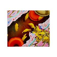 Artwork of blood platelets repairing capillary -