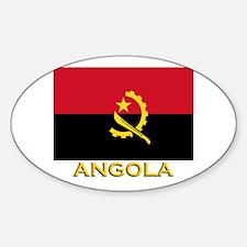 Angola Flag Gear Oval Decal