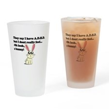 ADHD bunny Drinking Glass