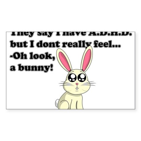 ADHD bunny Sticker (Rectangle)