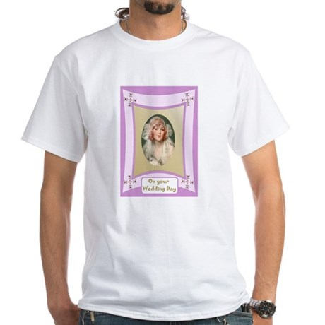 Pretty bride in pink frame White T-Shirt