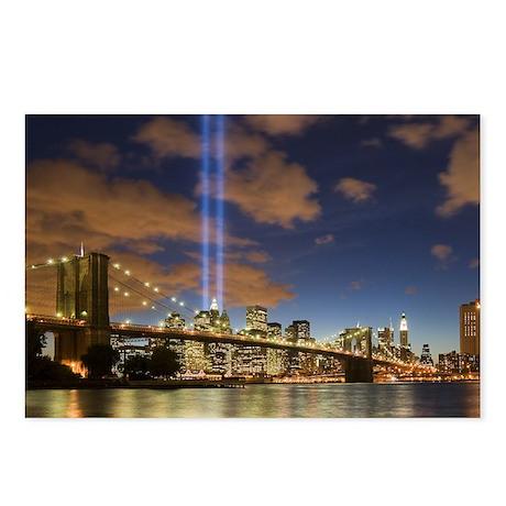 WTC Lights Brooklyn Bridge Postcards (Package of 8