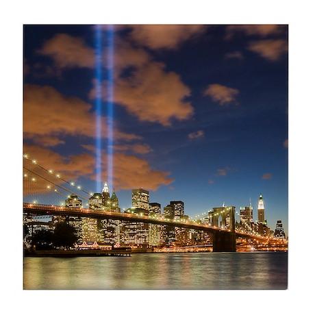 WTC Lights Brooklyn Bridge Tile Coaster