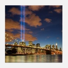 WTC Lights Brooklyn Bridge Tile Coaster