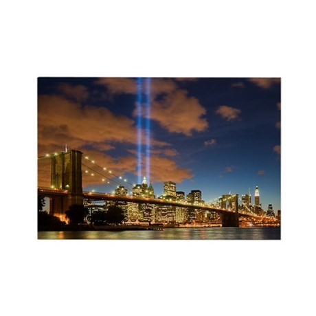 WTC Lights Brooklyn Bridge Rectangle Magnet (100 p