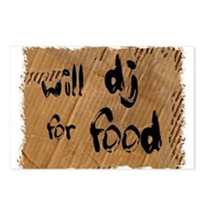 Will DJ For Food Postcards (Package of 8)