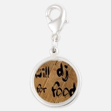 Will DJ For Food Silver Round Charm