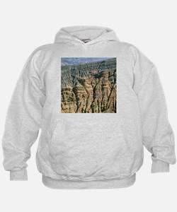 Bedded layers of rock in volcanic crater - Hoodie