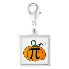 Pumpkin Pi Silver Square Charm
