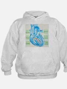 Artwork of cardiac arrhythmia with heart - Hoodie