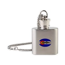 Colorado Oval Flag Walleye Flask Necklace