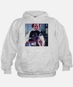 Technician holding two Soviet space dogs - Hoodie