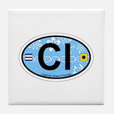 Captiva Island - Oval Design. Tile Coaster