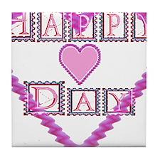 Happy Heart Day Tile Coaster