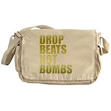 Drop Beats Not Bombs Gold Messenger Bag