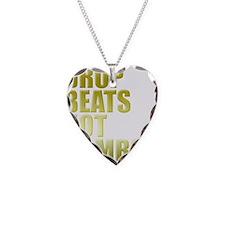 Drop Beats Not Bombs Gold Necklace Heart Charm