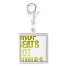 Drop Beats Not Bombs Gold Silver Square Charm