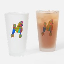 Pretty Poodle Design Drinking Glass