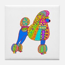 Pretty Poodle Design Tile Coaster