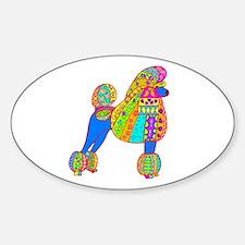 Pretty Poodle Design Sticker (Oval)