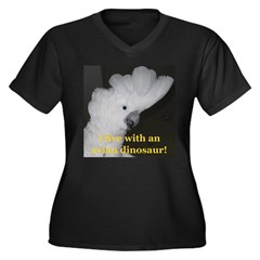 Umbrella Cockatoo Women's Plus Size V-Neck Dark T-