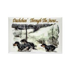 Dachshund Christmas Rectangle Magnet (10 pack)