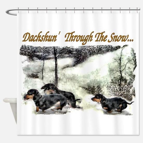 Dachshund Christmas Shower Curtain