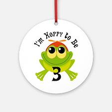 3rd Birthday Frog Turning 3 Ornament (Round)