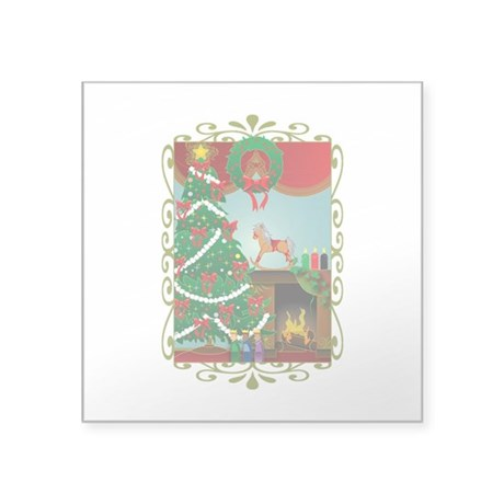 "Happy Holidays Square Sticker 3"" x 3"""