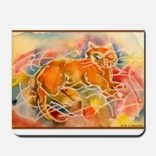 Cat! Colorful animal art, Mousepad