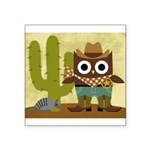 cowboy owl Square Sticker 3