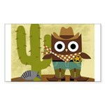 cowboy owl Sticker (Rectangle 10 pk)