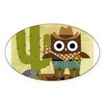 cowboy owl Sticker (Oval)