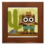 cowboy owl Framed Tile