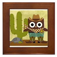 cowboy owl Framed Tile