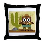 cowboy owl Throw Pillow