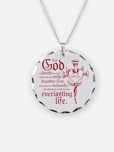 Bible Verse John 3:16 Necklace Circle Charm