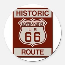Cajon Summit Route 66 Round Car Magnet