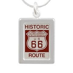Cajon Summit Route 66 Silver Portrait Necklace