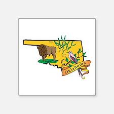 "Oklahoma Map Square Sticker 3"" x 3"""