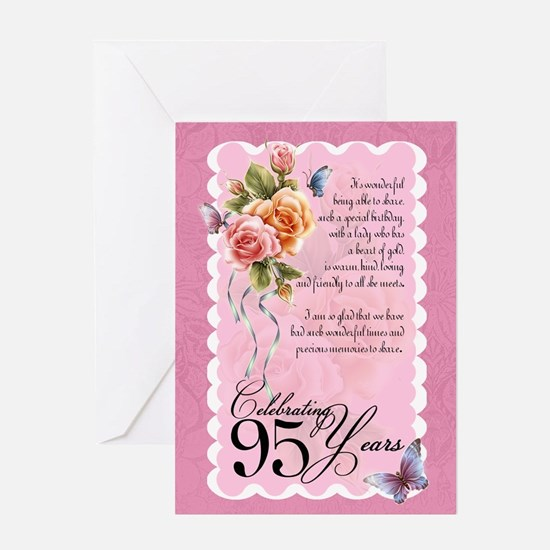 95 years old greeting card - roses and butterflies