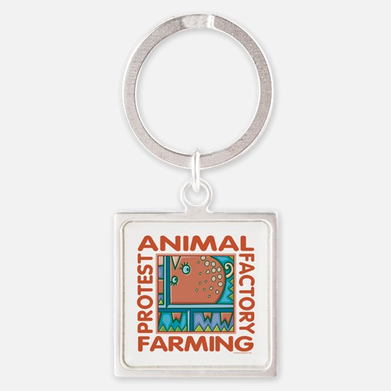 Factory Farming Square Keychain