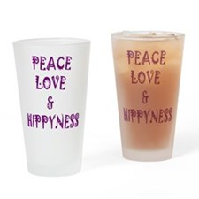 Peace, Love and Hippyness Drinking Glass