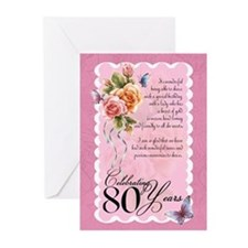 80th Birthday Greeting Card With Roses (Pk of 20)
