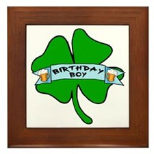 Irish Birthday Boy with Beer Framed Tile