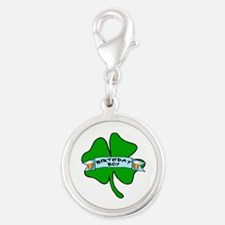 Irish Birthday Boy with Beer Silver Round Charm