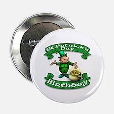 "St. Patrick Birthday Leprechaun 2.25"" Button"