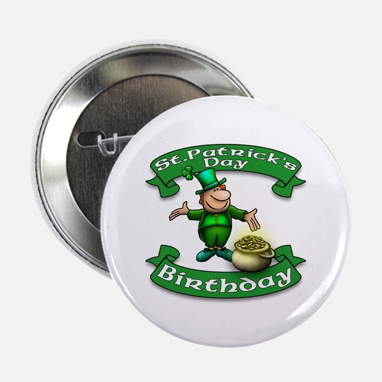 "St. Patrick Birthday Leprechaun 2.25"" Button"
