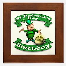 St. Patrick Birthday Leprechaun Framed Tile