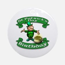 St. Patrick Birthday Leprechaun Ornament (Round)
